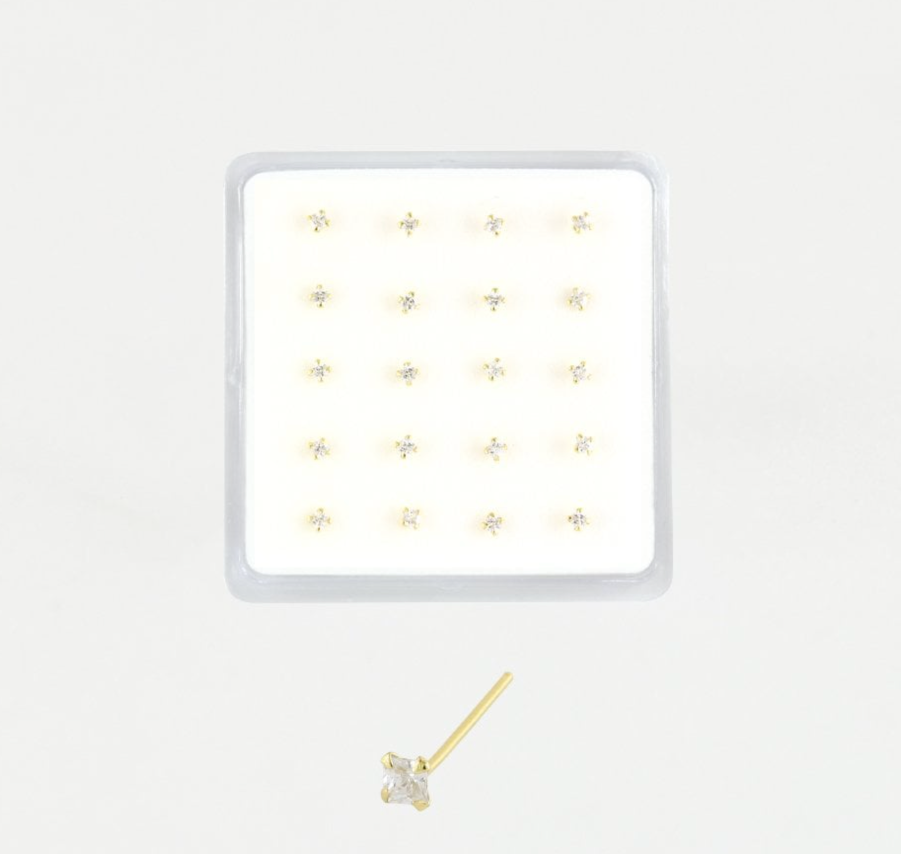 Gold Plated Nose Stud  - Square Clawset
