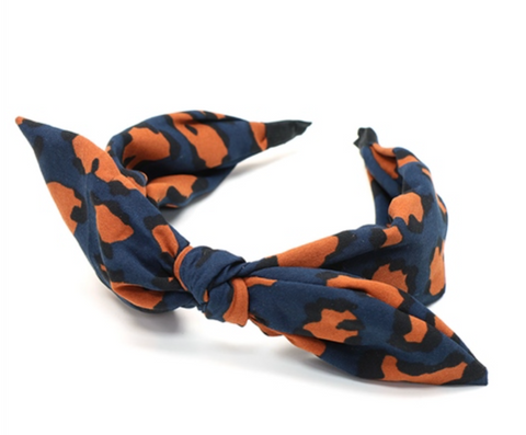 Peace Of Mind Leopard Print Bow Headband - Navy