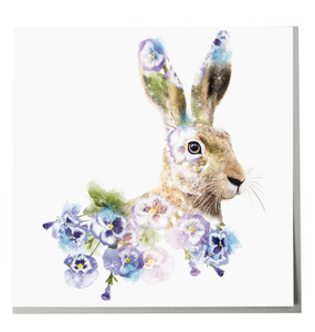 Lola Design Greetings Card - Hare with Blue Flowers