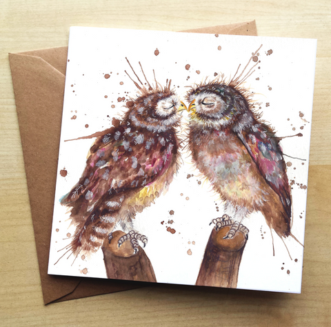 Greetings Card - Splatter Loved Up Owls