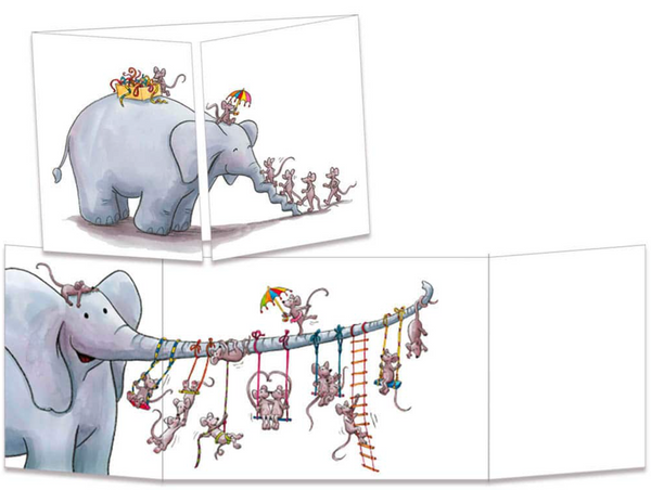Sophie Turrel Folding Greetings Card - Elephant Swing CT311