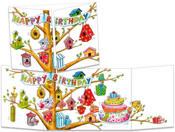 Sophie Turrel Folding Greetings Card - Birthday Birdhouse CT288