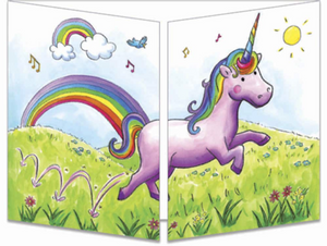 Sophie Turrel Folding Greetings Card - Rainbow Unicorn CT299