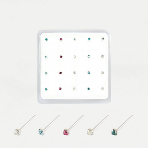 Sterling Silver Nose Stud  - Round Clawset Gem 1mm