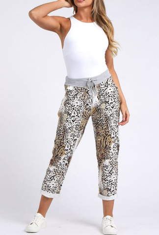 Leopard Print Cotton Pants /Joggers