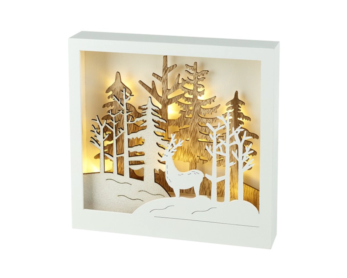 Heaven Sends Led Square Light Up Wooden Forest Scene with Deer