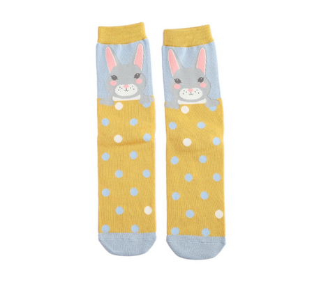 Miss Sparrow Bamboo Ladies Socks - Bunny Powder Blue