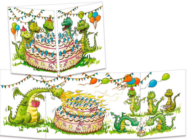 Sophie Turrel Folding Greetings Card - Dragon Party CT265