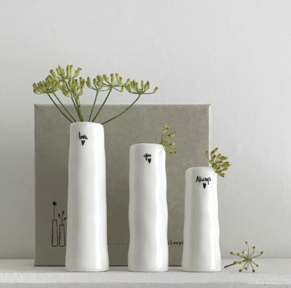 "East of India Porcelain Trio of Bud Vases - ""Love, you, always"""