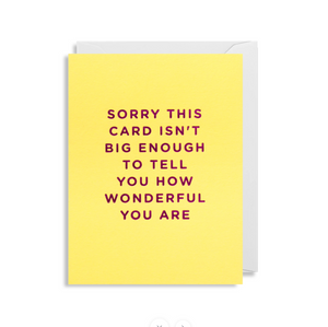 "Greetings Card - Lagom Mini Card- ""Sorry This Card Isn't Big enough...."""