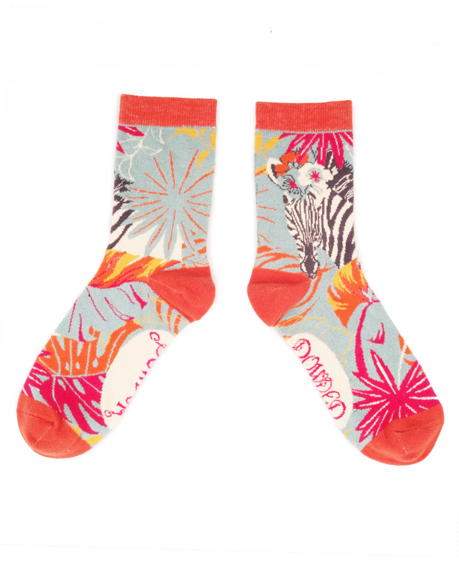 Powder Floral Zebra Ankle Socks