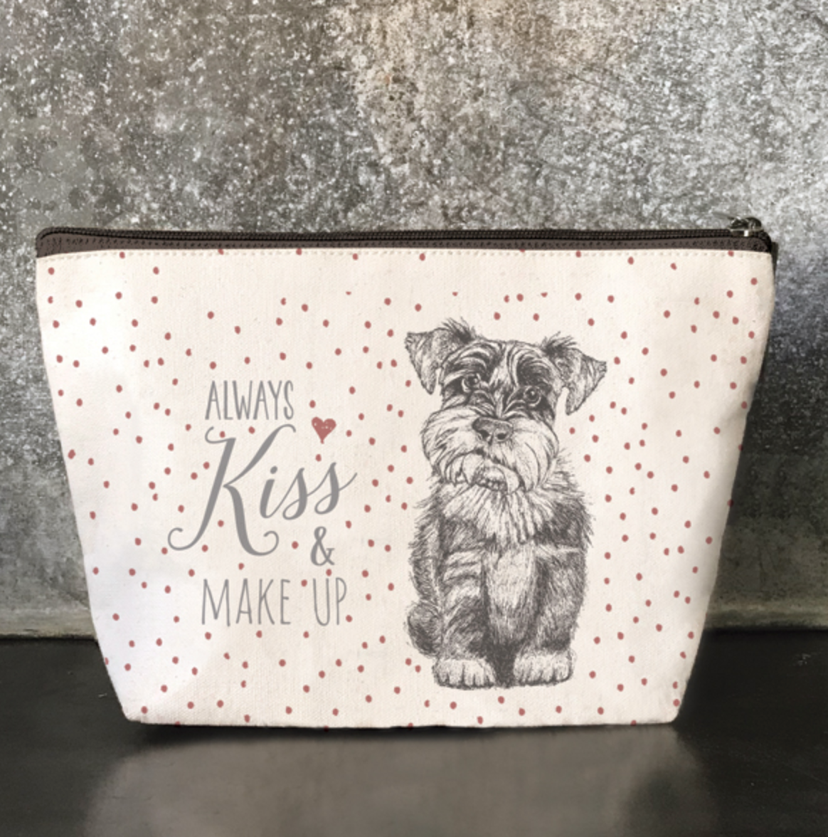 "East of India ""Always Kiss and Make Up""  Cosmetic Purse"