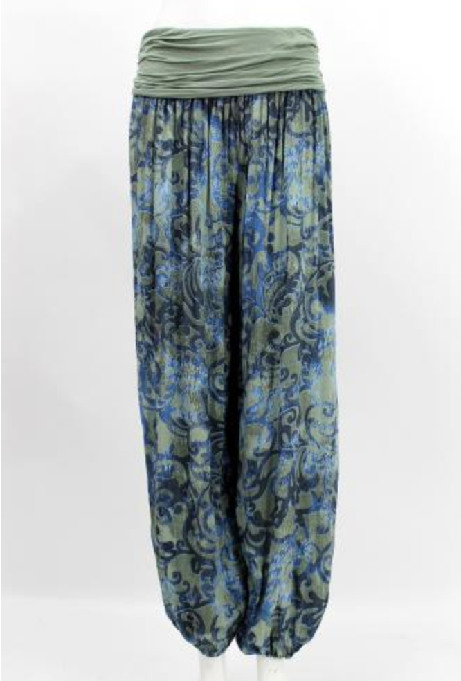 Baggy Harem Trousers - Scroll Print