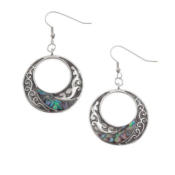 Paua Shell Circular Drop Earrings TJ155