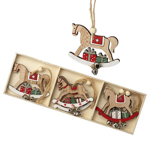 Set of 8 Christmas Rocking Horses with Bells Wooden Decorations