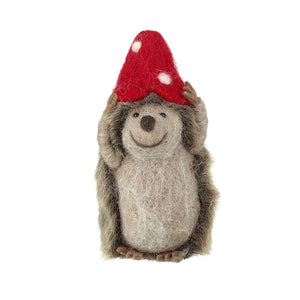 Hedgehog with Toadstool Hat Decoration