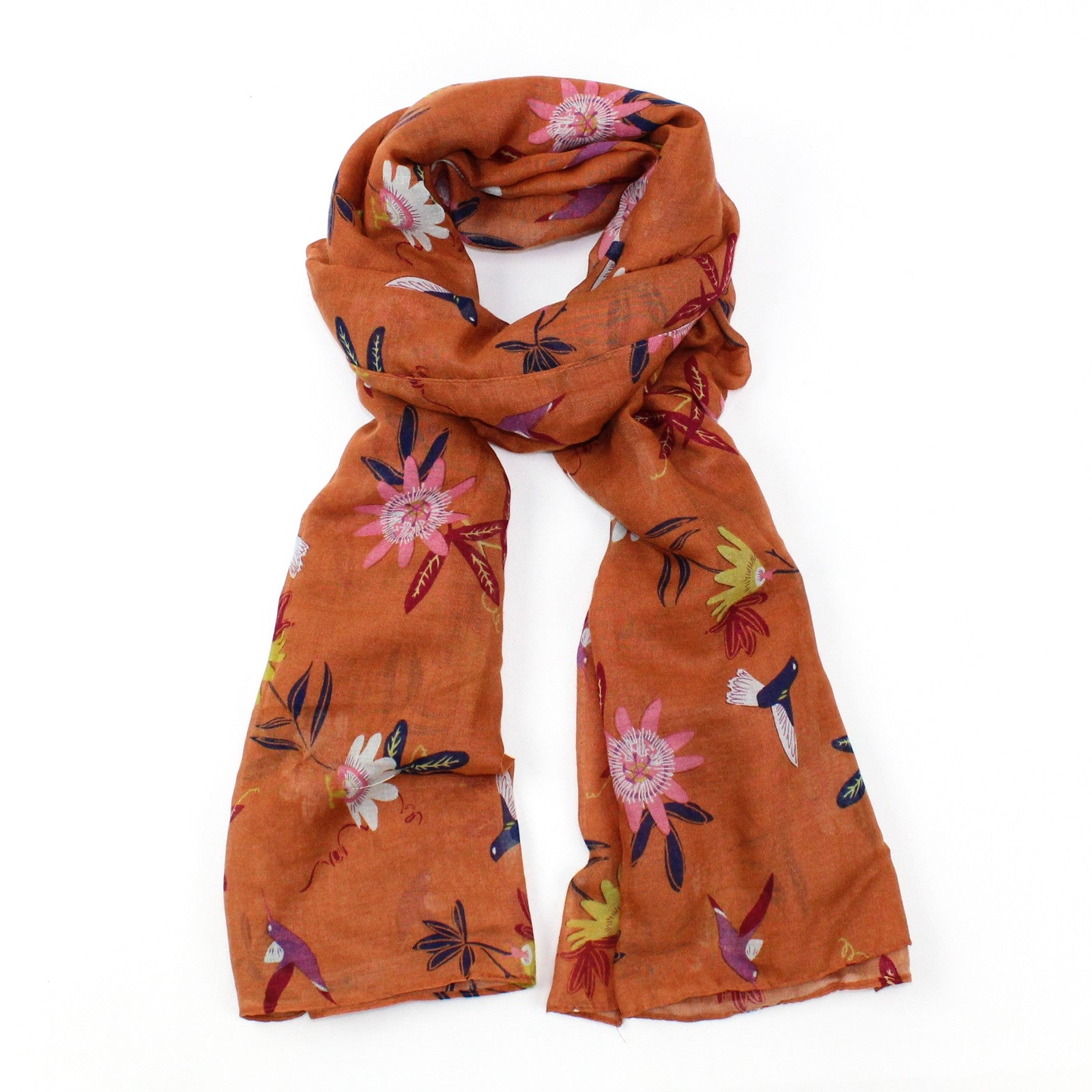 Flower & Hummingbird Scarf - Dark Orange