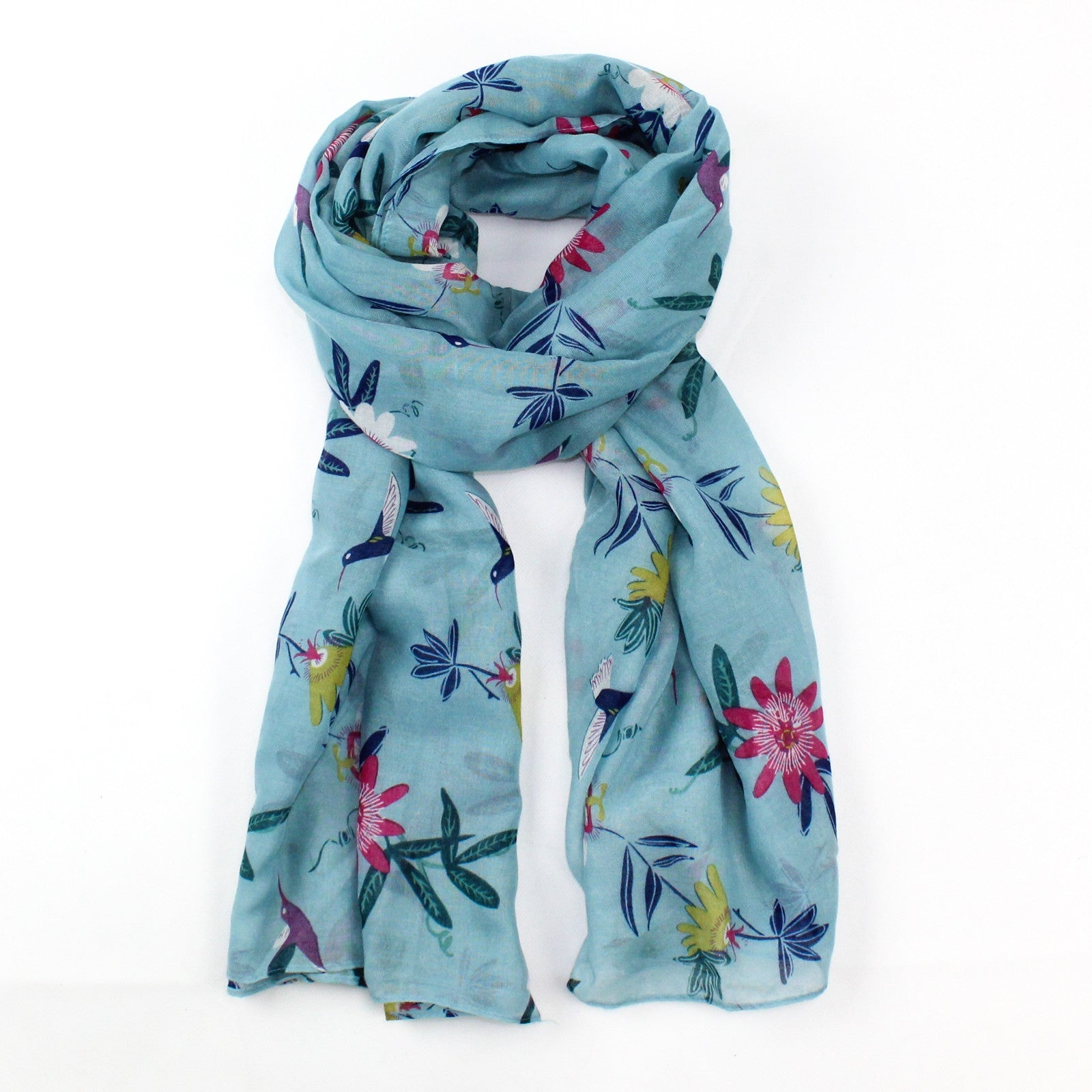 Passion Flower & Hummingbird Scarf - Blue