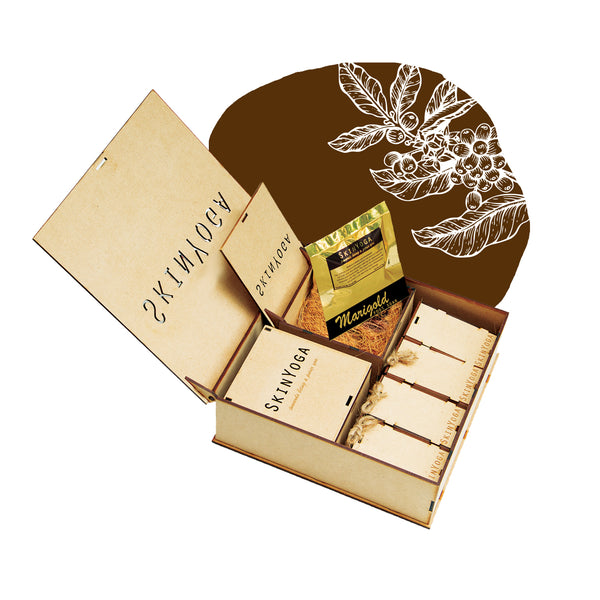 natural skin care products wooden gift box