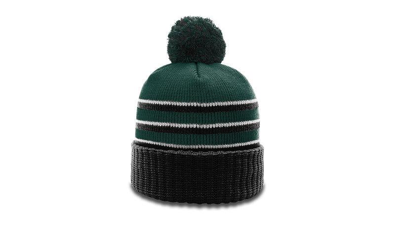 Richardson 134 - STRIPED BEANIE W/ CUFF & POM