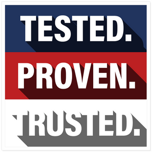 Tested. Proven. Trusted. Square Sticker Pack