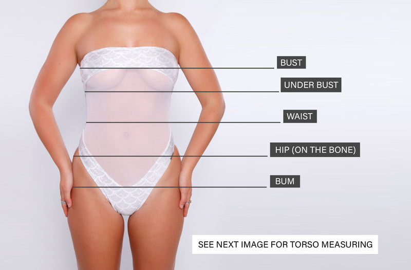 How to measure yourself guide. Annabelle Lawrence luxury swimwear, designed to turn heads.