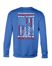 Load image into Gallery viewer, Never Underestimate An Old Man With A Bicycle American Flag Custom Design Sweatshirt