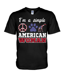 I Am A Simple American Woman Who Loves Dogs And Giraffe Custom Design Guys V-Neck