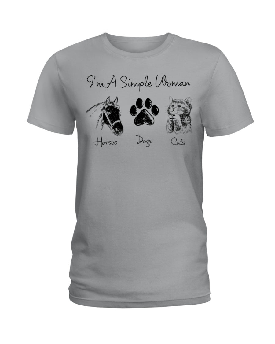 Unique I Am A Simple Woman  Gift For Cat Lovers Ladies Tee