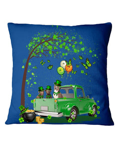 Pit Bull Shamrock Truck For St.Patrick's Day Gifts For Dog Lovers Pillow Cover