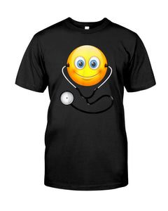 Cute Smiling Nurse Emoji Face Wearing Stethoscope Great Gift For Doctor's Day Guys Tee