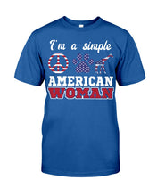 Load image into Gallery viewer, I Am A Simple American Woman Who Loves Dogs And Giraffe Custom Design Guys Tee