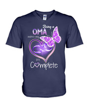 Load image into Gallery viewer, Family Gifts Being A Oma Makes My Life Complete Guys V-Neck