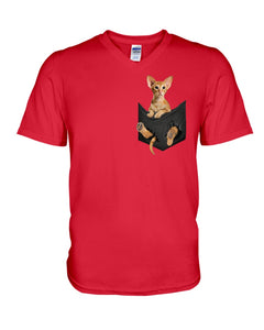 Vintage Funny Cat In Your Front Pocket Birthday Gift Guys V-Neck