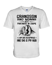 Load image into Gallery viewer, Grandson And Nonna Best Partners In Crime Custom Design Guys V-Neck