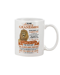 This Old Lion Will Always Have Your Back Lovely Message Gifts For Grandson Mug