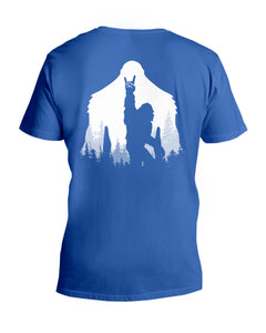 Bigfoot Rock And Roll - Backside Great Gift For Friends Who Loves Bigfoot Guys V-Neck