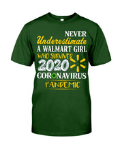 Load image into Gallery viewer, Never Underestimate A Walmart Girl Who Survive 2020 Pandemic Guys Tee