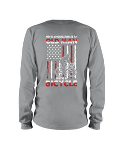 Never Underestimate An Old Man With A Bicycle American Flag Custom Design Unisex Long Sleeve