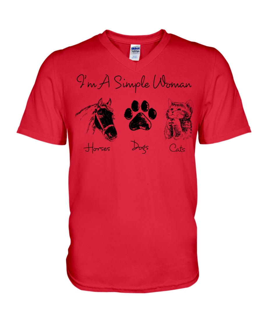 Unique I Am A Simple Woman  Gift For Cat Lovers Guys V-Neck