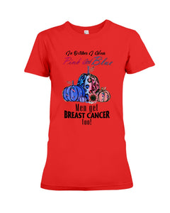In Octorber We Wear Pink And Blue Breast Cancer Custom Design Ladies Tee