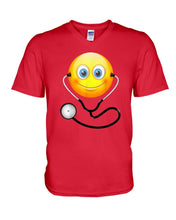Load image into Gallery viewer, Cute Smiling Nurse Emoji Face Wearing Stethoscope Great Gift For Doctor's Day Guys V-Neck