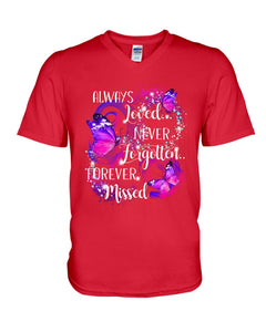 In Loving Memory Never Forgotten Forever Missed Butterflies Guys V-Neck