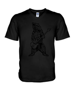 The Bear Play Guitar Funny Gift For Bass Guitar Lovers Guys V-Neck