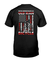 Load image into Gallery viewer, Never Underestimate An Old Man With A Bicycle American Flag Custom Design Guys Tee