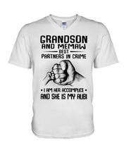 Load image into Gallery viewer, Grandson And Memaw Best Partners In Crime Gifts Guys V-Neck