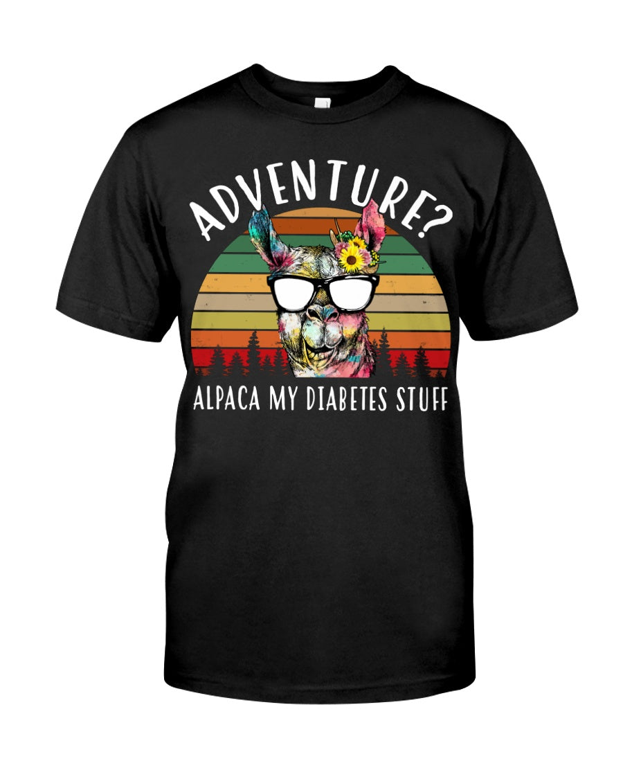 Adventure Alpaca My Diabetes Stuff Colorful Gift For Family Guys Tee