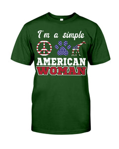 I Am A Simple American Woman Who Loves Dogs And Giraffe Custom Design Guys Tee