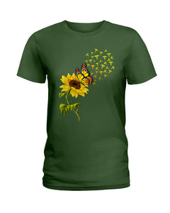 Butterfly Sunflower Nurse Custom Gift For Friends Ladies Tee