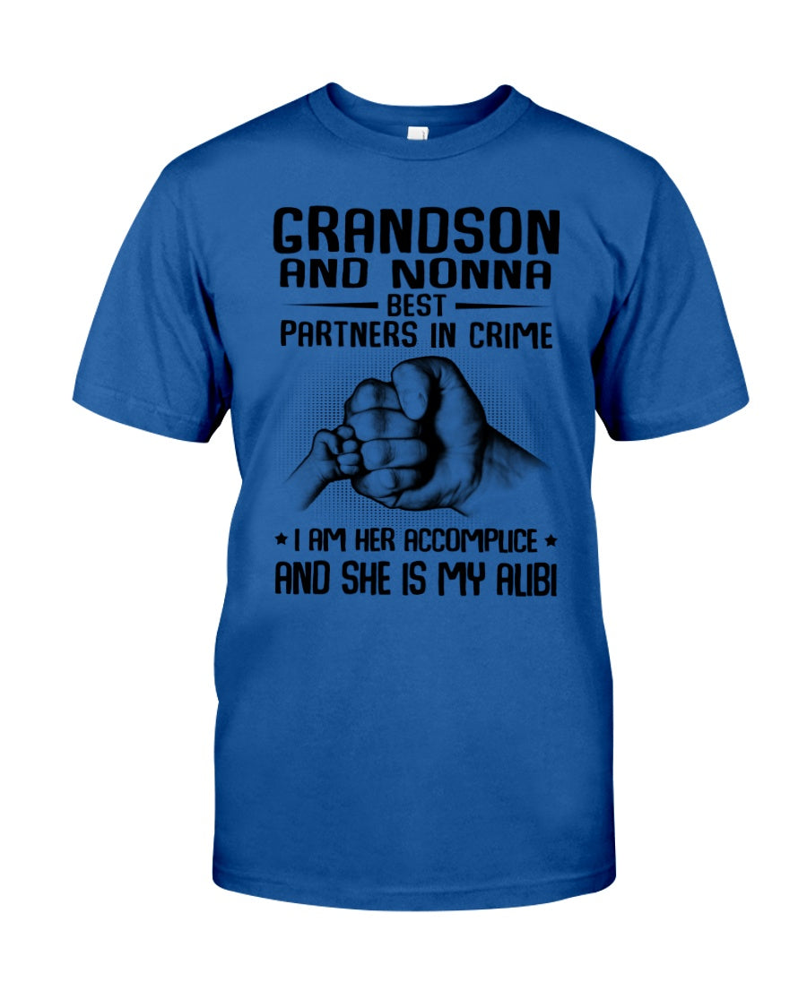Grandson And Nonna Best Partners In Crime Custom Design Guys Tee
